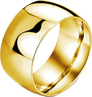 Fashion Month Mens 12mm Classic Gold Wedding Engagement 316L Stainless Steel Ring Dome High Polished Band
