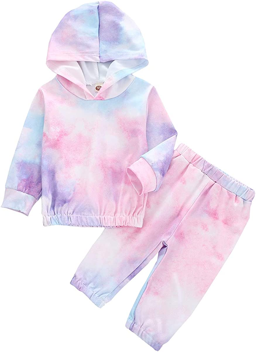 Baby Online limited product Boy Large discharge sale Girl Outfit Set Tie Dye Sleeve Hood Pants Todd Long Top