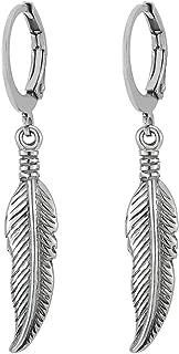 Mens Womens Stainless Steel Huggie Hinged Hoop Earrings with Dangling Vintage Feather Leaf