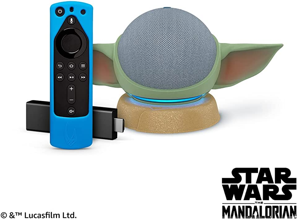 Echo Dot (4th Gen) - Twilight Blue and Fire TV Stick 4K with Star Wars themed remote cover (Bounty Blue) and stand (stand will be released on June 10, 2021)