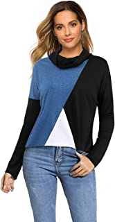SOLERSUN Women's Casual Tunic Shirts Cowl Neck Long Sleeve Loose Fit Pullover Tees Tops