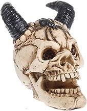 XDH-RTS Horned Demon Skull Figurine Resin Statue Collectible Halloween Decor Dreadful Monster Skull Sculpture
