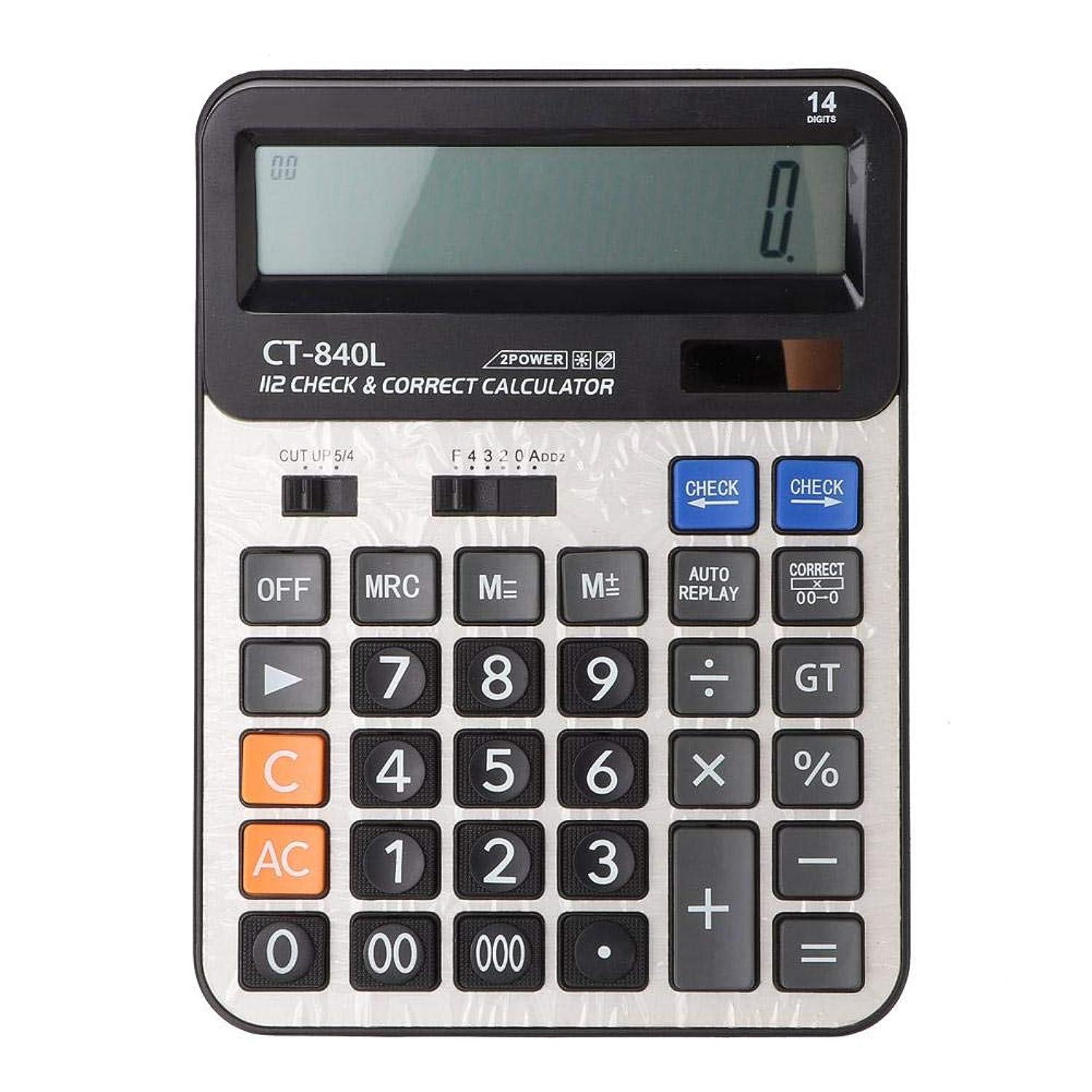 電卓 14桁 大きな数字のボタン デュアルパワードライブ ソーラーパワー 基本的 標準 オフィス デスクトップ 計算機 逆チェック機能付き