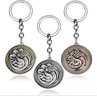 Pack of 3 Game of Thrones Cute Pocket Keychain Metal Decor House Targaryen Keyring Pendant Charms Gifts for Boy Girl Best Friends/collections