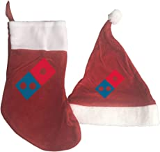 Christmas Decorations Sets 2 Pcs Dominos Pizza Logo Christmas Hats and Christmas Stockings Red