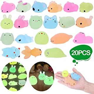 LEEHUR Party Favors Mochi Glitter Squishies 20pcs Glow in The Dark Animals Squishy Kids Squeeze Toys Kawaii Sensory Stress Anxiety Reliever Birthday Halloween Christmas Party Supplies Gift