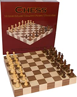 Athena Tournament Chess Inlaid Wood Board Game with Weighted Wooden Pieces, Large 18 x 18 Inch Set