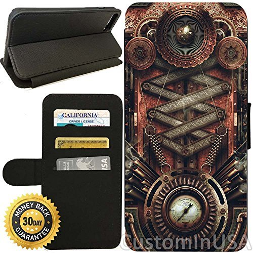 Flip Wallet Case for iPhone 7 Plus (Steampunk Motherboard) with Adjustable Stand and 3 Card Holders | Shock Protection | Lightweight | by Innosub