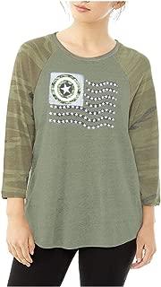 Marvel Shield American Flag Camo Junior's Raglan 3/4 Sleeve T-Shirt