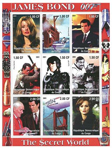 Stampbank Le Monde Secret de James Bond 007 Feuilles de Timbres avec 9 Timbres pour Les collectionneurs - 2001 - Congo - Nus et Gomme