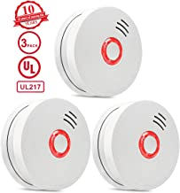 Smoke Detector,3 Packs Photoelectric Smoke Alarm Fire Alarm with Light Sound Warning 9V..