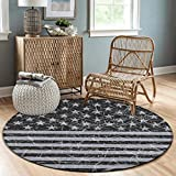 NiYoung Premium Fashion Round Area Rugs Throw Rugs Super Soft Flannel Non-Slip Floor Carpet 3ft Diameter for Bedroom Living Room Nursery Decor (Vintage USA Flag Retro American Flag)