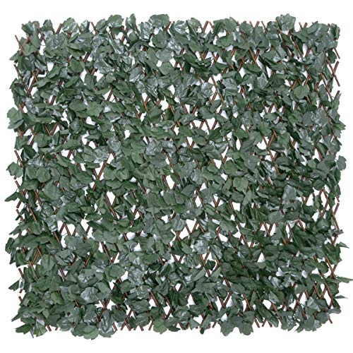 CHRISTOW Artificial Ivy Leaf Hedge Screening, Expanding Willow Trellis With Leaves, Outdoor Garden Privacy Screen, Wall Fence Panel, H1m x W2m (3ft 3' x 6ft 5')
