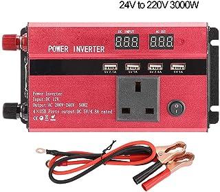 with 2Pcs Cable 24V to 220V Inverter Car Inverter, Solar Inverter, Built-in Short(24V to 220V, 3000W)