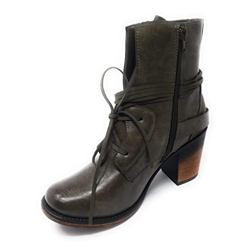 ed54865e5fb0 Pierre Dumas Ravenna-1 Women s Vintage Distressed Lace-up Stacked Heel Ankle  Boot