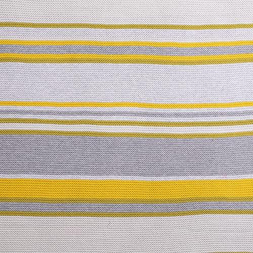 Cosatto Kinderwagendecke für Kinderwagen, grau/gelb gestreift, gekämmte Baumwolle, gestrickt, Geschenk zur Geburt
