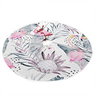 NOALKJ Personalized Custom Christmas Tree Skirt-Abstract-Tropical-Pattern-Flamingo-Protea-Leaves Christmas Tree Skirt Holiday Decorations,36Inch
