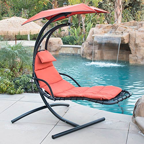 BELLEZE Hanging Chaise Lounger Chair Arc Stand Air Porch Swing Hammock Chair Canopy (Orange)