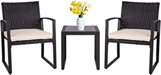 Sponsored Ad - Shintenchi 3 Pieces Patio Set Outdoor Wicker Patio Furniture Sets Modern Bistro Set, Two Chairs with Glass ...