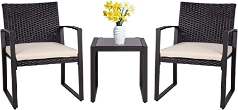 Shintenchi 3 Pieces Patio Set Outdoor Wicker Patio Furniture Sets Modern Bistro Set, Two Chairs with Glass Coffee Table Ra...