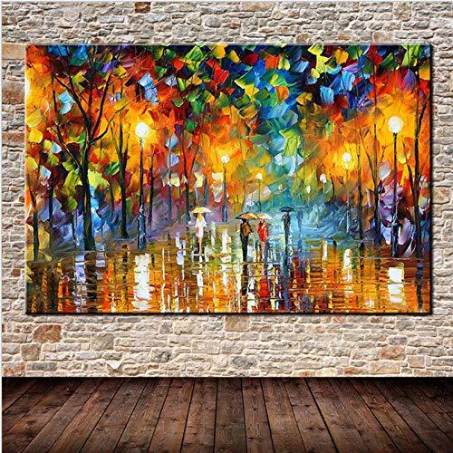 ganlanshu Quadro Senza Cornice Pittura a Olio Moderna astratta pioggia Strada Albero luci paesaggio pittura su Tela Wall Art picture20X30cm