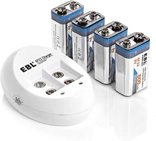 EBL 4-Pack 9V Batteries Li-ion 9 Volt Rechargeable Batteries with 840 9V Battery Charger