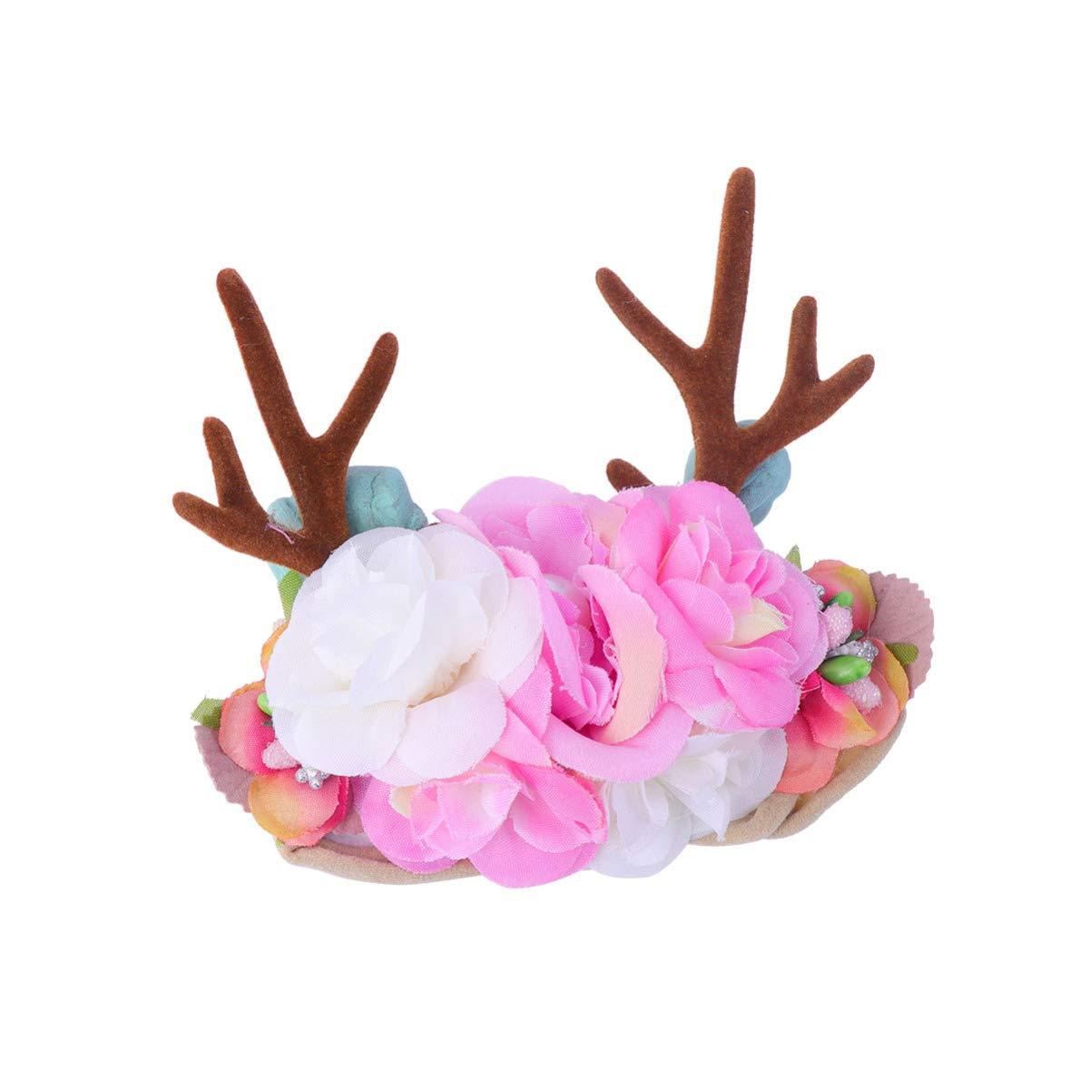 Lurrose Christmas Floral Headbands Nylon Antlers Flowers Crown Elasti Hair Band Cute Headdress Lovely Headwear for Newborn Infant Toddler (Light Pink)