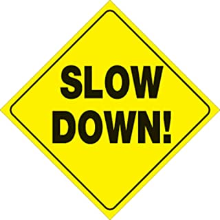 """Voss Signs Yellow Plastic Reflective Sign 12"""" Slow Down"""