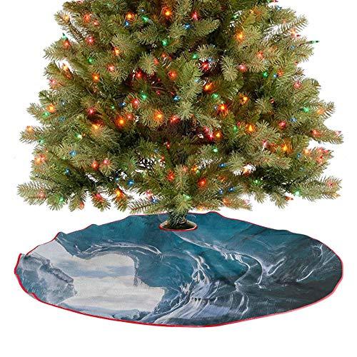 Homesonne Falda para árbol de Navidad en el interior del famoso glaciar Vatnajokull en Islandia con adornos de Navidad, hermosa adición destacada gris carbón, azul pálido y blanco, 76,2 cm