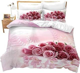 Fansu Juego de Ropa de Cama, Microfibra Funda de edredón 3D Rosa Florales Impresión con Funda de Almohada y Funda Nórdica para Cama 140/160 (220x240cm,Rosa Rosa)