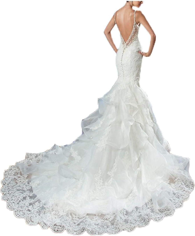 Jerald Norton Ltd Women's Beaded Mermaid Wedding Dress Backless Lace Appliques Bridal Gowns White
