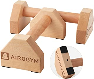 airogym Push-up Stand, 2 PCS Wood Pushup Bars Non-Slip Base Exercise Home Workout Equipment, 30CM Wooden Parallettes Handl...