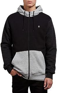 Volcom Men's Single Stone Lined Zip up Fleece Hooded Sweatshirt, Black Combo, Large 海外卖家直邮