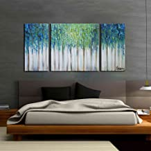 ARTLAND Hand-Painted 24x48-inch 'Blue Memory'3-Piece Gallery-Wrapped Abstract Oil Painting on Canvas Wall Art Set Size:30x30inchesx1 15x30inchesx2 FCP-373-L