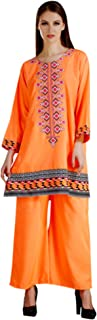 MEVE Readymade Orange Embroidered Kurta and Palazzo Set for Women (L)