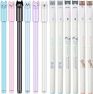 12 Pieces Cute Cat Pen Gel Pens Black Ball Point Pens for School Office Supplies (Mix Cat Pens)