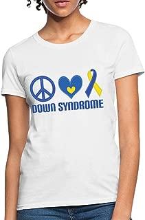 Down Syndrome Peace Love Ribbon Women's T-Shirt