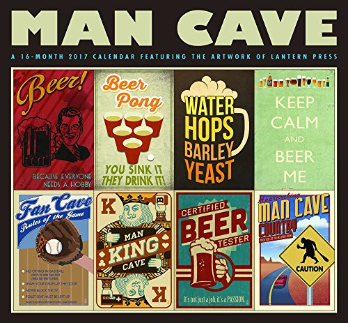Man Cave - 2017 12inch x 12inch Hanging Square Wall Vintage Style Lantern Press Art Poster Planner Calendar Hopper Studios