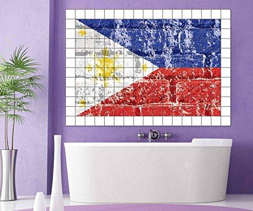 Fliesenaufkleber Philippinen Flagge Fahne Asien Fliesenbild Fliesen tiles Fliesenbilder Aufkleber Bad Küche 8A367, Bildformat:135cmx90cm;Fliesengröße:Fliese 15x25cm