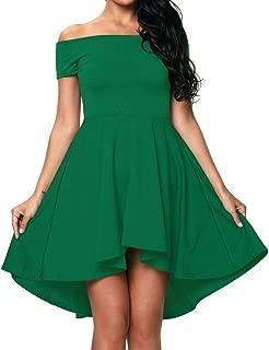 Red Dot Boutique 8040 - Plus Size Hi High Low Off Shoulder Skater Dress