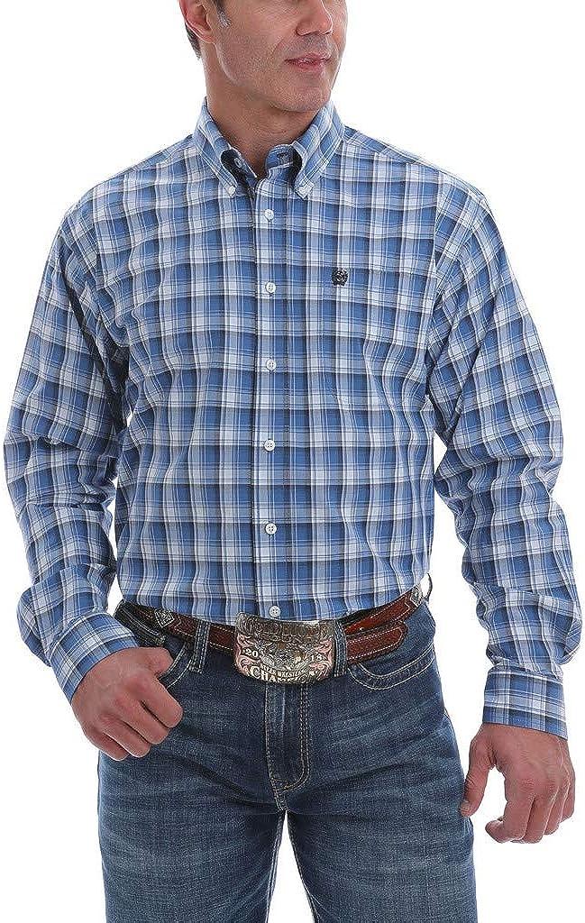 Cinch Apparel Mens Blue/White L/S Large Plaid Shirt