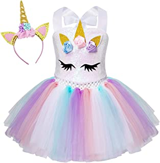 Unicornio/Sirena Vestidos Princesa Niña Fiesta de Tul Tutu con Encaje de Flor sin Mangas Disfraz Halloween Princesa con Argolla de Pelo Boda