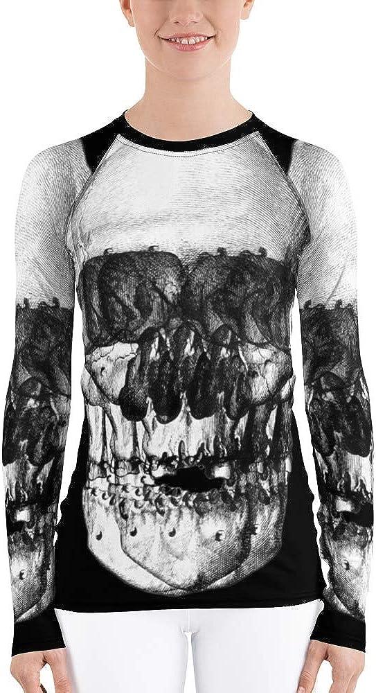 Frox Apparel Design Buzzed Skull Women's Rash Guard by Ross Farrell