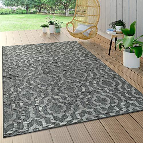 Paco Home In- & Outdoor Teppich, Terrasse u. Balkon, Wetterfest Modern Geometrische Muster, Grösse:120x170 cm, Farbe:Grau 3
