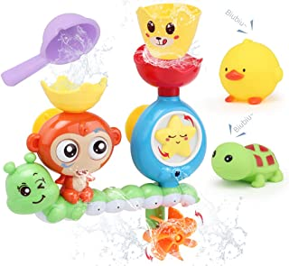 Sotodik Baby Bath Toys Bathtub Shower Swimming Water Toys Playsets with Monkey Waterfall Station and 2PCS Float Squirt Sou...