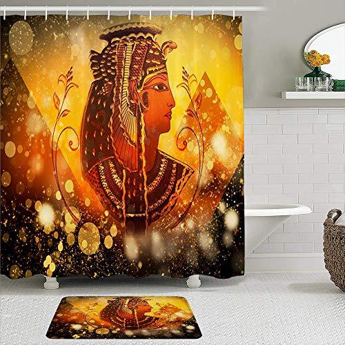 vhg8dweh Juegos de Cortinas de baño con alfombras Antideslizantes, Antiguo Egipto Egipcio Reina Mujeres bajo la pirámide Egipto Pictograma en Golden Bling Glitter,con 12 Ganchos