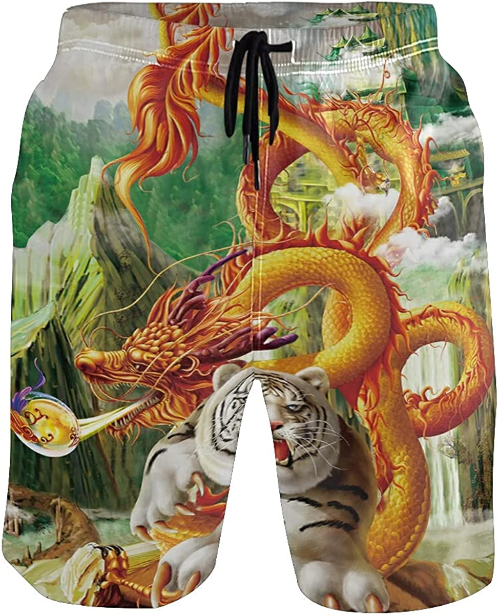 Cute Dragon Tiger King Animal Men's Swim Trunks Quick Dry Shorts with Pockets
