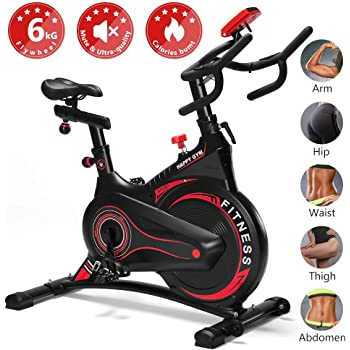 Fnova Bicicleta estática de Spinning Indoor, Volante de inercia de 6kg, Pantalla LCD, Ajustable Manillar y Asiento, Fitness Bicicleta: Amazon.es: Deportes y aire libre
