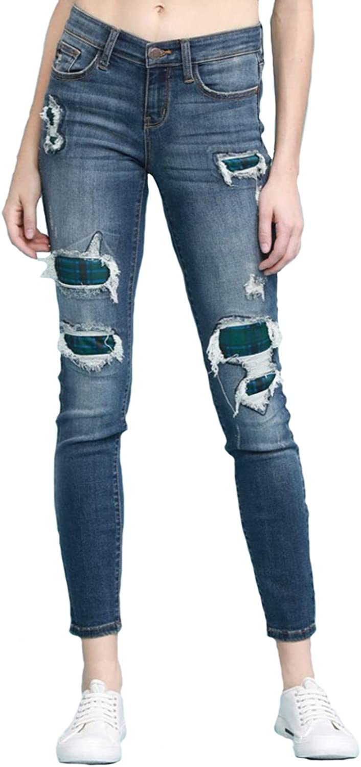 Judy Blue Green Plaid Patch Style: Skinny 82140 Jeans free Max 79% OFF