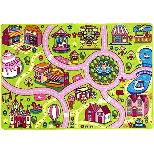"Mybecca Kids Rug 5' x 7' Colourful Fun Land Theme Park Roads Floor Play Children Area Rug Mat for Playroom & Nursery (59"" x 82"") Ideal Gift for Children Baby Bedroom Play Room Game Play Mat Rugs"